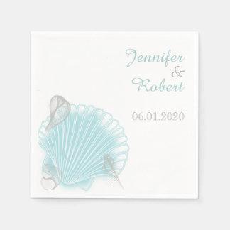 青い貝殻のビーチ結婚式のナプキン スタンダードカクテルナプキン