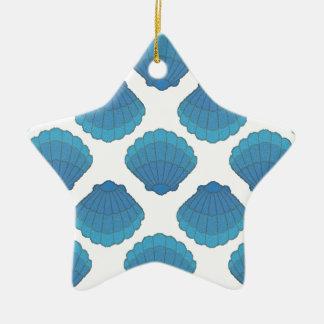 青い貝殻のモザイク模様 セラミックオーナメント