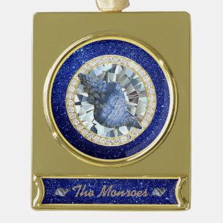 青い貝殻の宝石の青く模造のなグリッター ゴールドプレートバナーオーナメント