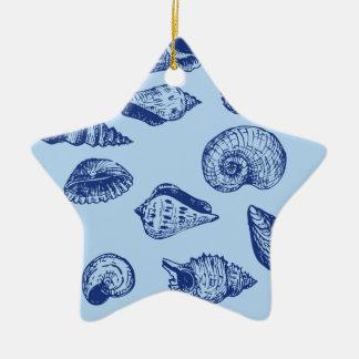 青い貝殻 セラミックオーナメント