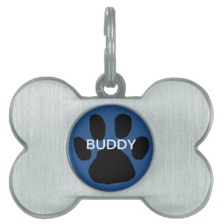 青い足のプリント犬の認識票 ペットネームタグ