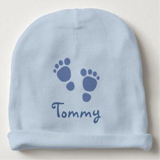 青い足跡の乳児の帽子 ベビービーニー