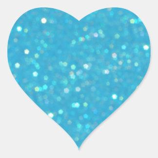 青い輝きのハート形のステッカー ハートシール