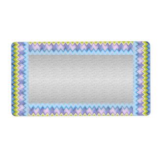 青い輝きのボーダーテンプレートの銀 ラベル