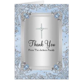 青い輝きの宝石の洗礼のサンキューカード カード