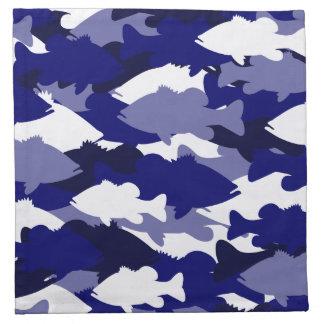 青い迷彩柄の低音の魚釣り ナプキンクロス