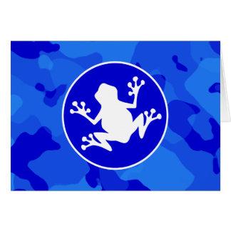 青い迷彩柄の白いカエル; カムフラージュ カード