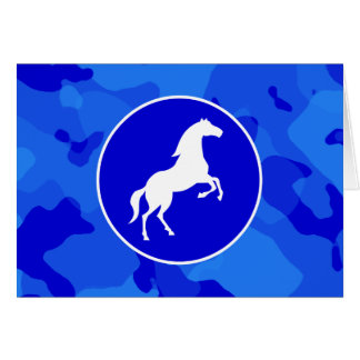 青い迷彩柄の馬; カムフラージュ カード