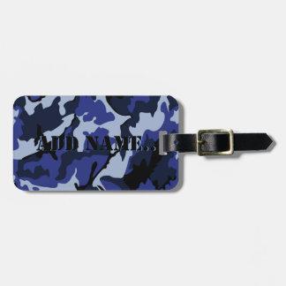 青い迷彩柄は名前、革バンドが付いている荷物のラベルを加えます ラゲッジタグ