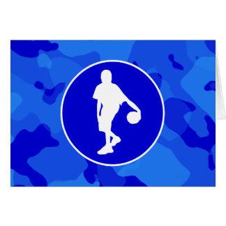 青い迷彩柄; カムフラージュのバスケットボール カード