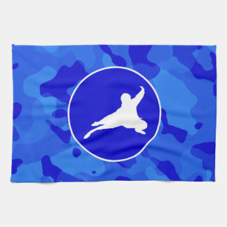 青い迷彩柄; カムフラージュの忍者 キッチンタオル