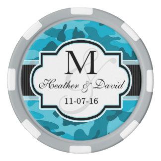 青い迷彩柄、カムフラージュの結婚式 カジノチップ