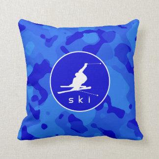 青い迷彩柄; カムフラージュの雪のスキー クッション