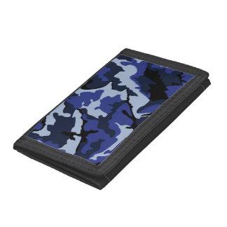 青い迷彩柄、三重ナイロン財布