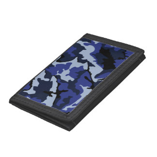 青い迷彩柄、三重ナイロン財布 ナイロン三つ折りウォレット