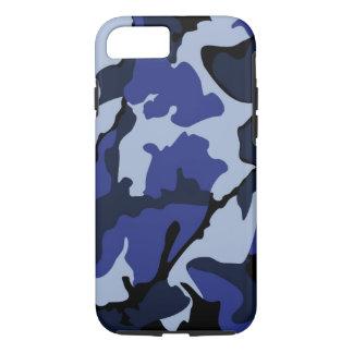 青い迷彩柄、堅いiPhone 7の場合 iPhone 8/7ケース