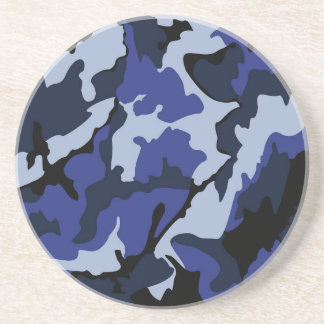 青い迷彩柄、砂岩飲み物用コースター コースター