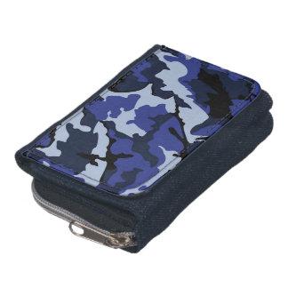 青い迷彩柄、硬貨の財布が付いているデニムの財布