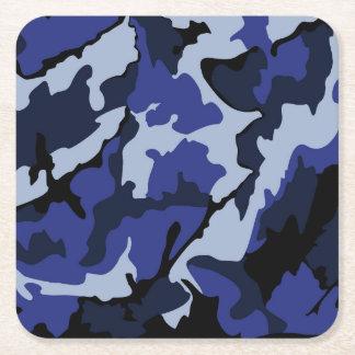 青い迷彩柄、6つの正方形紙のコースター スクエアペーパーコースター