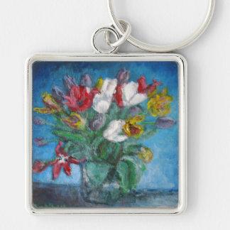 青い部屋の花柄のチューリップの花つぼ キーホルダー