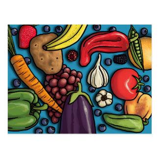 青い郵便はがきのカラフルな果物と野菜 ポストカード