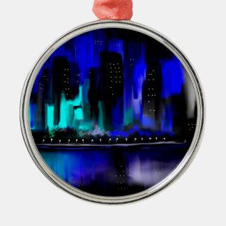 青い都市 メタルオーナメント