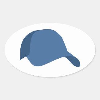 青い野球帽 楕円形シール
