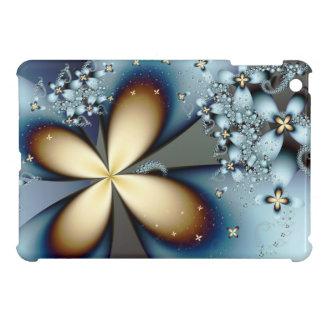 青い金ゴールドのかわいい花の抽象美術 iPad MINI カバー