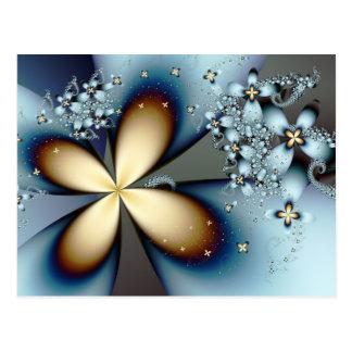 青い金ゴールドのかわいく抽象的な花柄 ポストカード