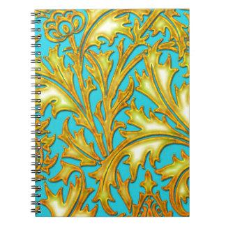 青い金ゴールドのアザミ ノートブック