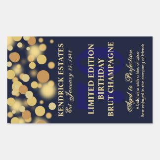 青い金ゴールドのシャンペンの泡誕生日のラベル750ml 長方形シール