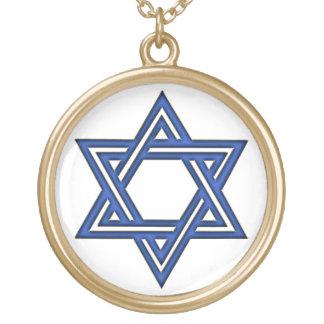 青い金ゴールドのネックレスKRWのダビデの星 ゴールドプレートネックレス