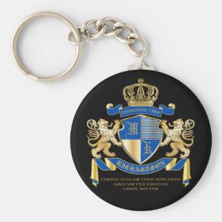 青い金ゴールドのライオンの紋章あなた自身の紋章付き外衣を作成して下さい キーホルダー