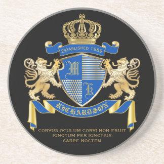 青い金ゴールドのライオンの紋章あなた自身の紋章付き外衣を作成して下さい コースター
