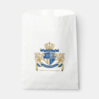 青い金ゴールドのライオンの紋章あなた自身の紋章付き外衣を作成して下さい フェイバーバッグ