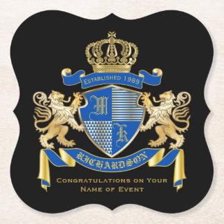 青い金ゴールドのライオンの紋章あなた自身の紋章付き外衣を作成して下さい ペーパーコースター