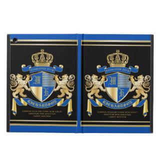 青い金ゴールドのライオンの紋章あなた自身の紋章付き外衣を作成して下さい iPad AIRケース