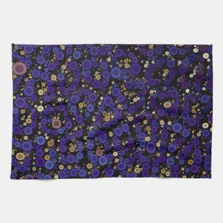 青い金ゴールドの円のチータの抽象芸術 キッチンタオル