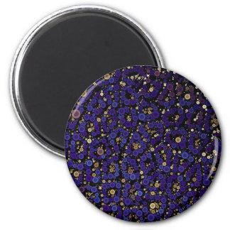 青い金ゴールドの円のチータの抽象芸術 マグネット