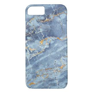 青い金ゴールドの灰色のモダンで粋な大理石パターン iPhone 8/7ケース
