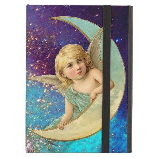 青い金ゴールドの黄色の輝きの月の天使 iPad AIRケース