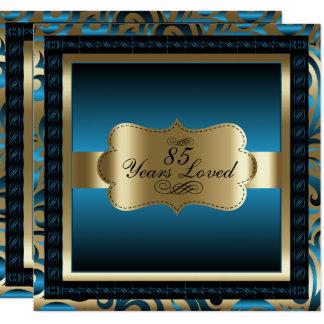 青い金属及び金の85th誕生会 13.3 スクエアインビテーションカード
