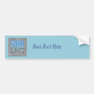 青い金属花 バンパーステッカー