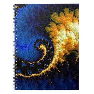 青い金黄色いフラクタル ノートブック