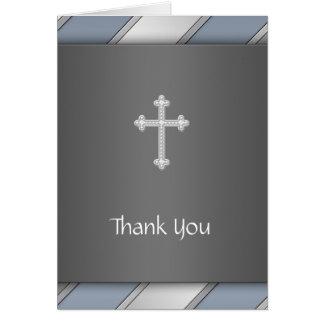 青い銀のストライプの十字のサンキューカード カード