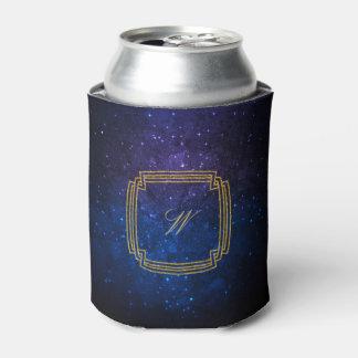 青い銀河系のシンプルな正方形のモノグラム 缶クーラー