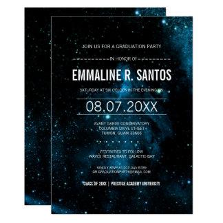 青い銀河系の卒業パーティーの招待 カード