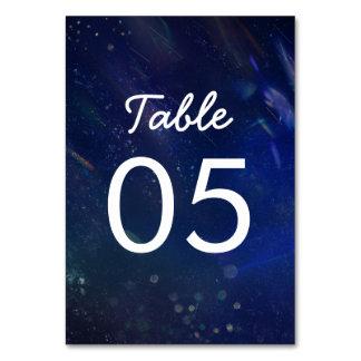 青い銀河系の結婚式のテーブルの番号記号 カード