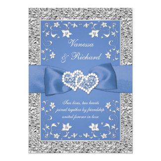 青い銀製の花のハート模造のなホイルの結婚式の招待 カード