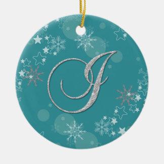 青い銀製の雪片の星のイニシャルIのクリスマス セラミックオーナメント